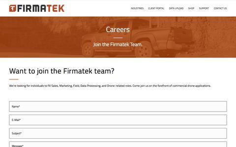 Screenshot of Jobs Page firmatek.com - Careers   Firmatek - captured July 8, 2018