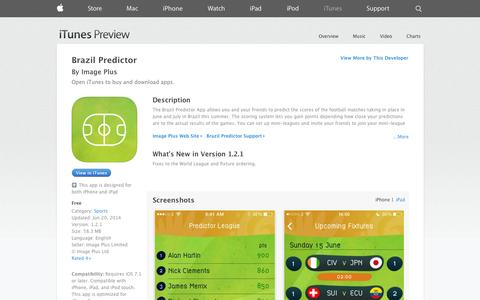 Screenshot of iOS App Page apple.com - Brazil Predictor on the App Store on iTunes - captured Oct. 23, 2014
