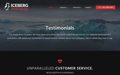 Screenshot of Testimonials Page icebergwebdesign.com - Testimonials - Iceberg Web Design | Unparalleled Customer Service - captured July 13, 2019