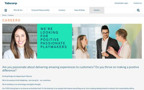 Screenshot of Jobs Page tabcorp.com.au - Tabcorp - Careers - captured July 2, 2019