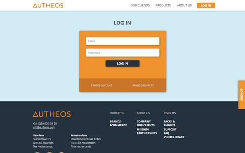 Screenshot of Login Page autheos.com - Autheos - Video where it matters most - captured March 9, 2016