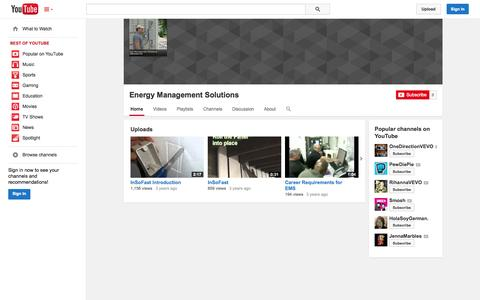 Screenshot of YouTube Page youtube.com - Energy Management Solutions  - YouTube - captured Oct. 22, 2014