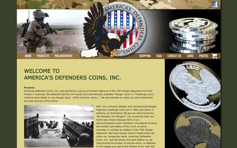 Screenshot of Home Page americasdefenderscoins.com - America's Defenders Coins | Silver Ranger Coins | Silver Coins | Military Challenge Coins | .999 Silver - captured Oct. 4, 2014