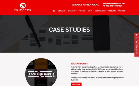 Screenshot of Case Studies Page netmaxims.com - Best Products & Applications Developed by Netmaxims Solutions - captured Jan. 4, 2017