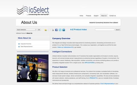 Screenshot of About Page Terms Page ioselect.com - ioSelect Inc-About Us,Find A Rep,Contact Us - captured Oct. 23, 2014
