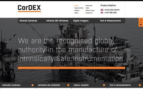 Screenshot of Home Page cordexinstruments.com - CorDEX Intrinsically Safe & Instrumentation - captured Oct. 3, 2014