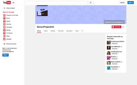 Screenshot of YouTube Page youtube.com - XenonProjectIntl  - YouTube - captured Oct. 26, 2014
