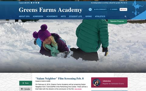 Screenshot of Home Page gfacademy.org - Greens Farms Academy - captured Feb. 2, 2016