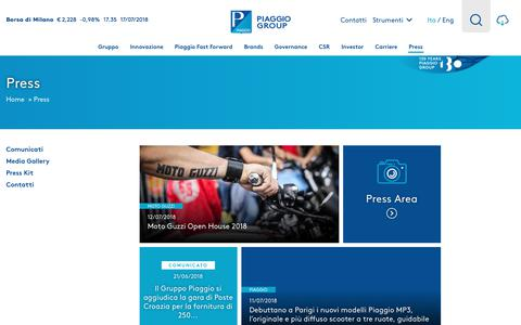 Screenshot of Press Page piaggiogroup.com - Press | Gruppo Piaggio - captured July 18, 2018
