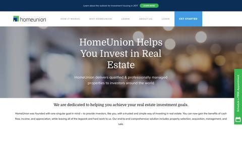 Screenshot of About Page homeunion.com - About HomeUnion. You Invest, We Do The Rest! Details Here - captured May 21, 2017