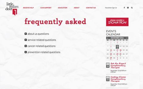 Screenshot of FAQ Page littlereddoor.org - Frequently Asked - Little Red Door - captured Nov. 10, 2016