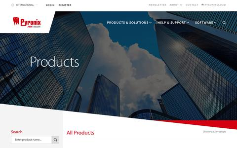 Screenshot of Products Page pyronix.com - Security & Alarm System Product Range | Pyronix - captured July 24, 2018