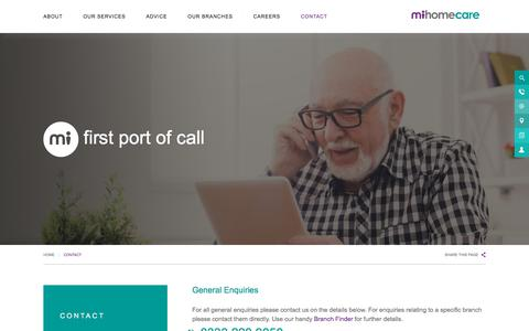 Screenshot of Contact Page mihomecare.com - Contact - MiHomecare - captured Sept. 20, 2018