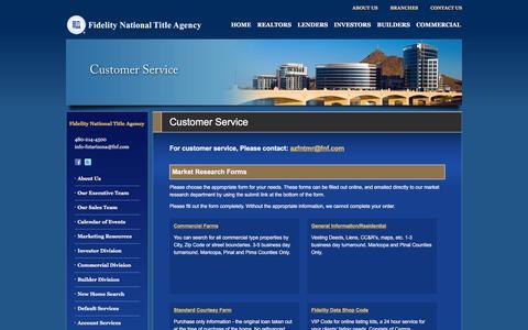 Screenshot of Support Page fntarizona.com - Customer Service - Fidelity National Title Agency - captured Feb. 9, 2016