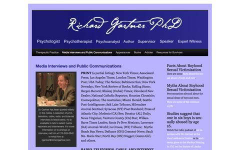 Screenshot of Press Page richardgartner.com - Media Interviews and Public Communications | Richard Gartner - captured Nov. 13, 2016