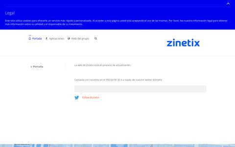 Screenshot of Home Page zinetix.es - Zinetix - a Winv company - captured Sept. 30, 2014