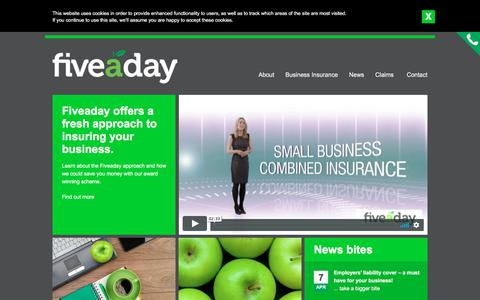 Screenshot of Home Page fiveadayinsurance.co.uk - Business Insurance Broker based in Studley Warwickshire - Fiveaday Insurance - captured Aug. 25, 2018