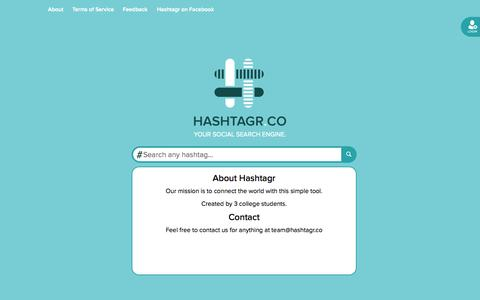Screenshot of About Page hashtagr.co - Hashtagr | Hashtag Aggregator - captured Sept. 18, 2014