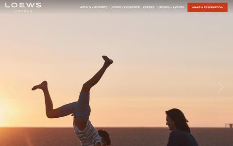 Screenshot of Home Page loewshotels.com - Loews Hotels: Luxury Hotels   Luxury Accommodations - captured Sept. 28, 2017
