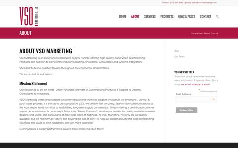 Screenshot of About Page vsomarketing.com - About | VSO Marketing - captured Feb. 15, 2016