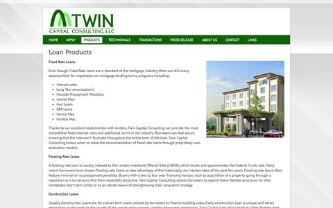 Screenshot of Products Page twincapitalconsulting.com - Commercial Lending | Foreclosure Bailout | Twin Capital Consulting - captured Oct. 9, 2014