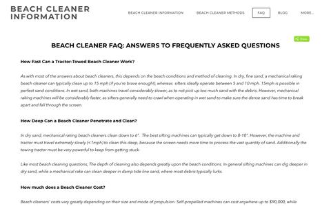 Screenshot of FAQ Page beachcleaner.com - Beach Cleaner Frequently Asked Questions - BEACH CLEANER INFORMATION - captured April 24, 2018