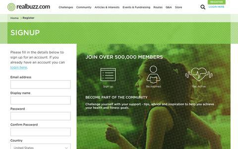 Screenshot of Signup Page realbuzz.com - Register   realbuzz.com - captured June 27, 2017