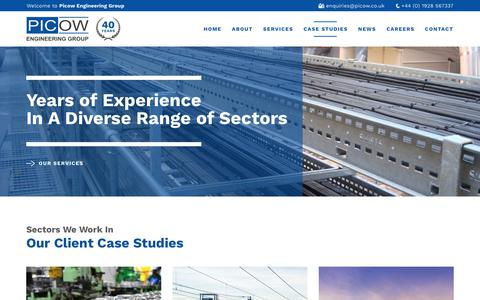 Screenshot of Case Studies Page picow.co.uk - Case Studies Archive - Picow Engineering Group - captured Sept. 26, 2018