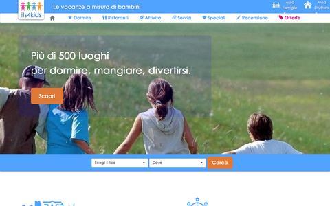 Screenshot of Home Page its4kids.it - Its4kids - Vacanze a misura di bambini - captured March 15, 2016