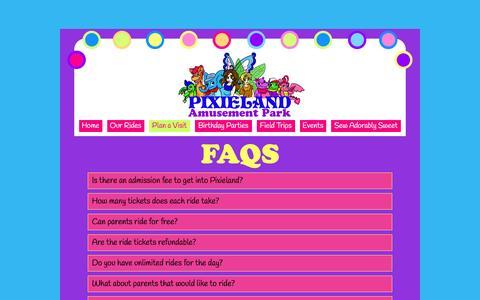 Screenshot of FAQ Page pixieland.com - FAQS - captured March 2, 2016