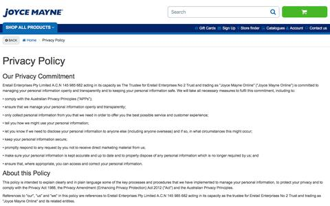 Screenshot of Privacy Page joycemayne.com.au - Privacy Policy | Joyce Mayne Australia - captured Sept. 20, 2018