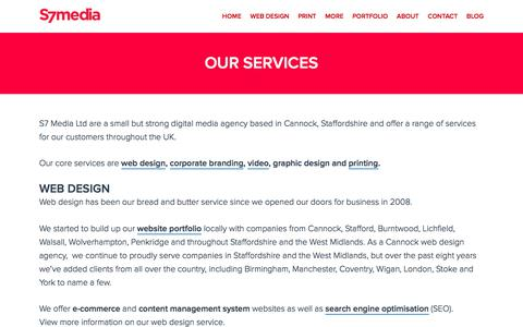 Screenshot of Services Page s7media.co.uk - Cannock Web Design & Print Services - S7 Media, a design agency in Staffordshire - captured Sept. 29, 2017