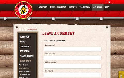 Screenshot of Contact Page shanesribshack.com - Leave a Comment | Ribs Restaurant and Affordable Catering | Shane's Rib Shack - captured Sept. 22, 2014