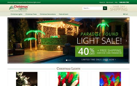 Screenshot of Home Page christmaslightsetc.com - Christmas Lights, Christmas Trees & LED Christmas Lights - Christmas Lights, Etc - captured May 16, 2017