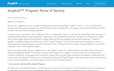 shopkick™ Program Terms of Service - Shopkick