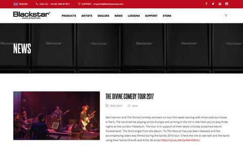 Screenshot of Press Page blackstaramps.com - Artist, Product and Company News  | Blackstar Amplification - captured Jan. 30, 2017