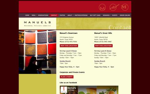 Screenshot of Contact Page manuels.com - Manuel's Mexican Restaurant Location - Downtown at 310 Congress - Arboretum at 10201 Jollyville - captured Oct. 1, 2018