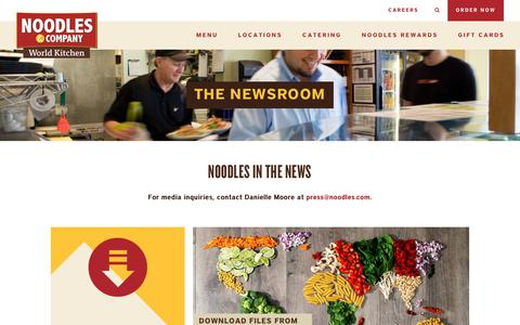 Screenshot of Press Page noodles.com - Newsroom - Noodles & Company - captured Jan. 9, 2018