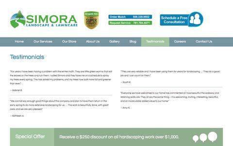 Screenshot of Testimonials Page simora.com - Testimonials - Simora Landscape & Lawncare - captured Oct. 7, 2014