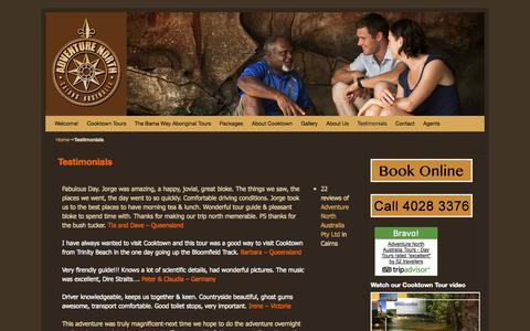 Screenshot of Testimonials Page adventurenorthaustralia.com - Testimonials - captured Oct. 27, 2014