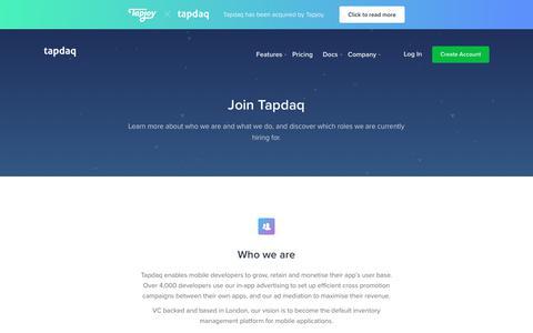 Screenshot of Jobs Page tapdaq.com - Tapdaq   Work with us! - captured Nov. 18, 2018