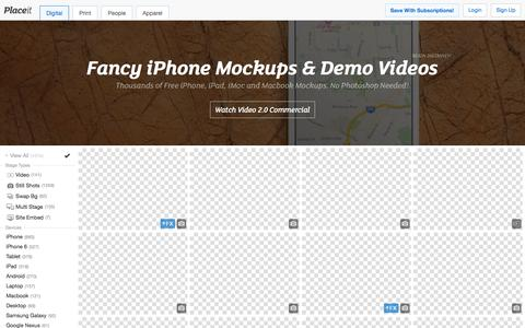 Screenshot of Home Page placeit.net - Free iPhone Mockup Generator & App Demo Videos by Placeit - captured Dec. 7, 2015