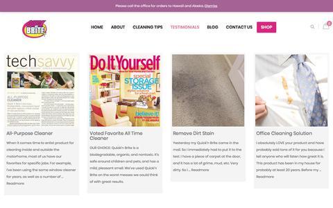 Screenshot of Testimonials Page quicknbrite.com - Testimonials - Quick n Brite - captured July 23, 2018