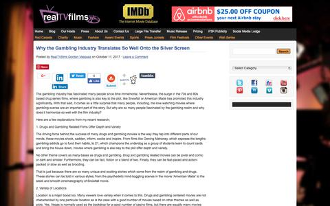 Screenshot of Blog realtvfilms.com - Filmmaker Interviews * Filmmaker Interviews from popular Film Festivals * Filmmaker Video Blog - captured Nov. 4, 2017