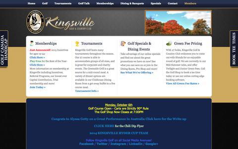 Screenshot of Login Page kingsvillegolf.com - Login - captured Oct. 6, 2014
