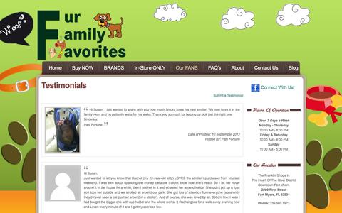 Screenshot of Testimonials Page furfamilyfavorites.com - Fur Family Favorites - Testimonials - captured Sept. 30, 2014
