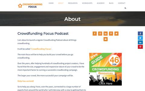 Screenshot of About Page crowdfundingfocus.com - Crowdfunding Focus Podcast with expert interviews on campaign strategy. - captured Oct. 12, 2019
