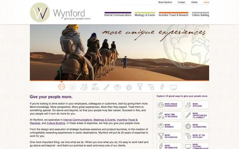 Screenshot of Home Page wynfordtwg.com - Wynford: Give Your People More - Home - captured Feb. 23, 2016