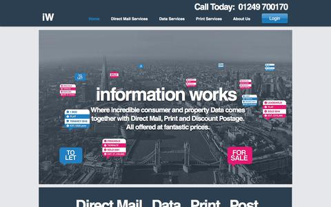 Screenshot of Home Page informationworks.co.uk - Online Direct Mail and Data Services | Wiltshire | Information Works - captured Sept. 14, 2018