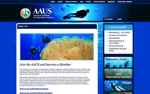 Screenshot of Signup Page aaus.org - Join - American Academy of Underwater Sciences - captured May 8, 2016